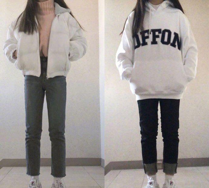 青春活力的裤装少女搭 在降温的这几天穿 保暖又有型