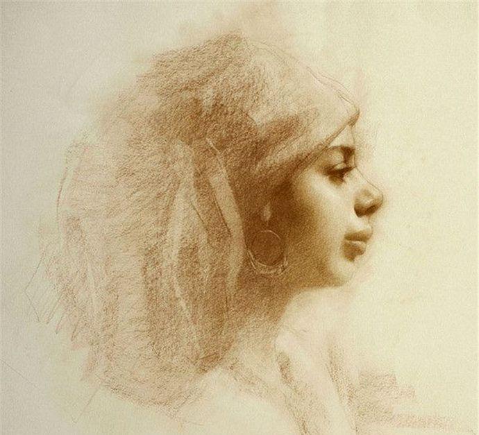 虚实结合,光线柔和,细腻逼真,Susan Lyon素描肖像画一组