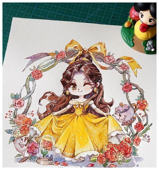 手绘大眼萌妹版迪士尼公主,花木兰变日漫女主,贝儿向你暗送秋波