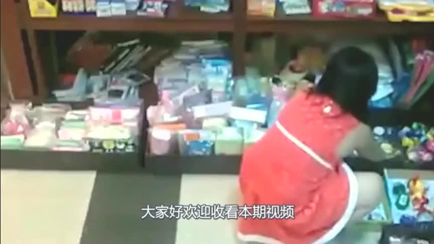 红裙女孩超市买东西,本以为神不知鬼不觉,谁知监控全程拍下