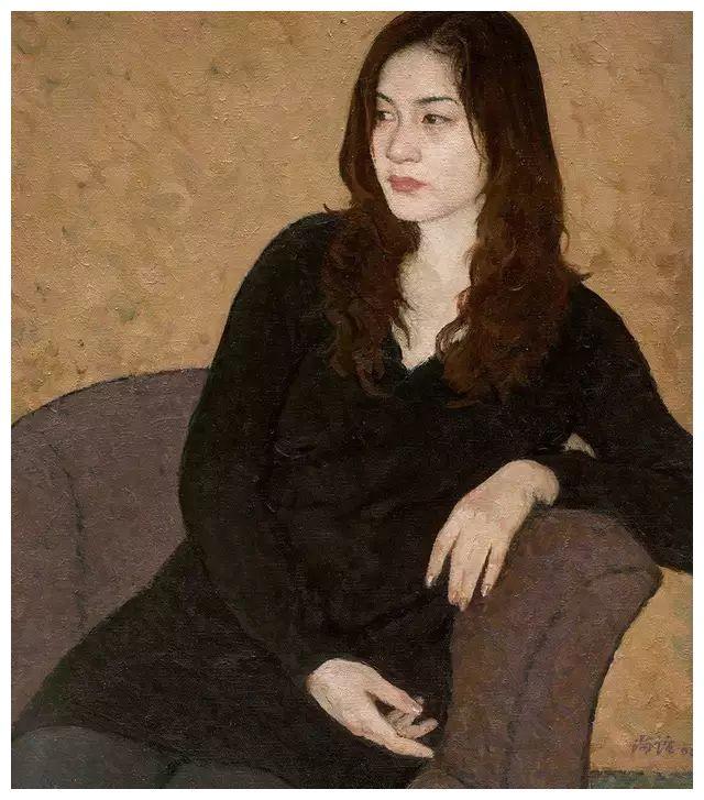 靳尚谊油画中的女子含蓄典雅,意境纯静,散发着朴素单纯的气息