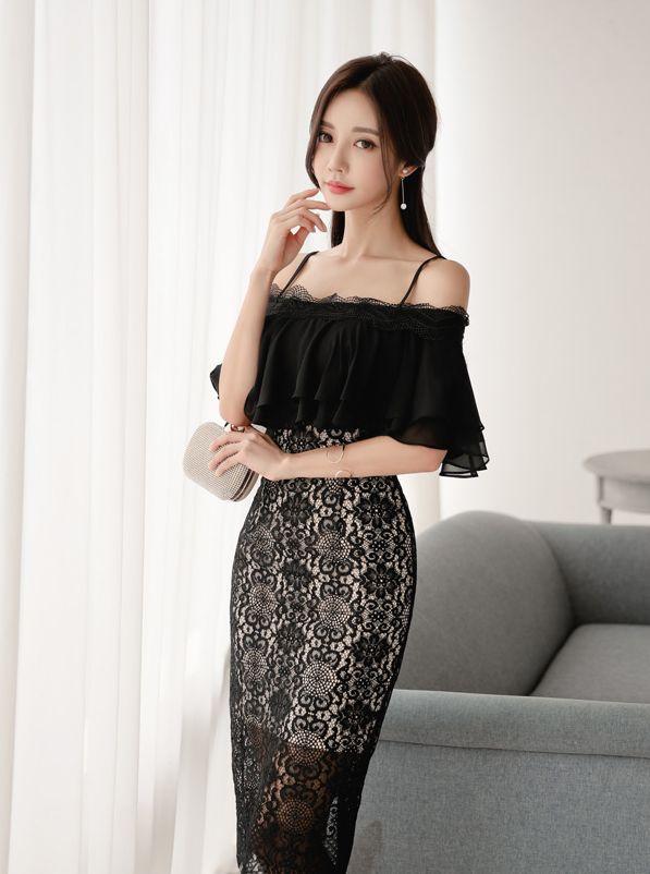 孙允珠女装美图:黑色修身时尚连衣裙,尽显时尚风格
