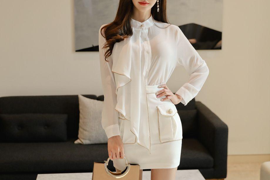 韩国模特孙允珠雪纺垂帘领巾白衬衫包臀短裙网拍