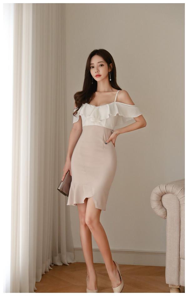 女神珠珠:水溶牛奶姜白清新荷叶小吊裙
