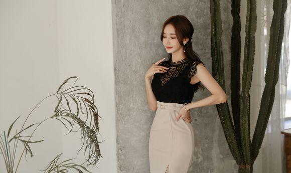 韩国时尚写真:孙允珠,黑瓷织网纱梦恬静无袖裙