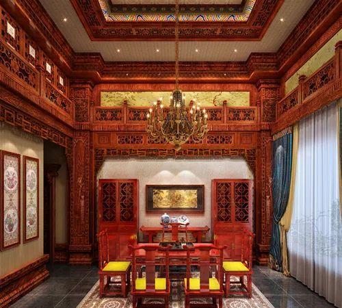 上海某会所红木家装 精品案例 材质:缅甸花梨木,风格:中式官廷