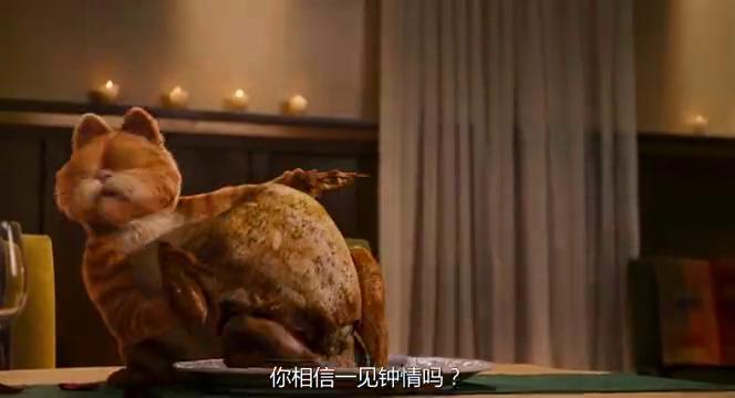 加菲猫趁主人不注意吃掉整只烧鸡,只留下碎骨头,躺桌子揉肚子