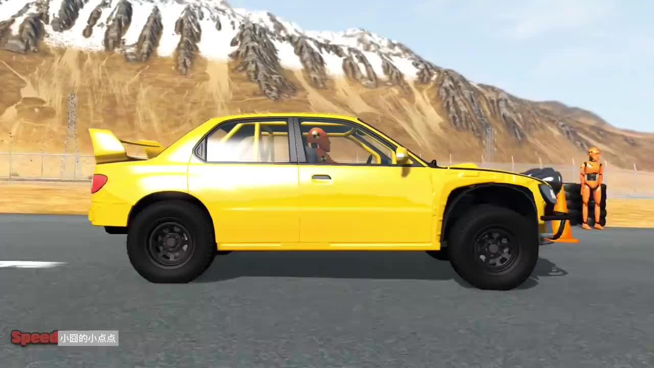 BeamNG假人举办挑战赛各种汽车vs超强减速带拟真车祸模拟
