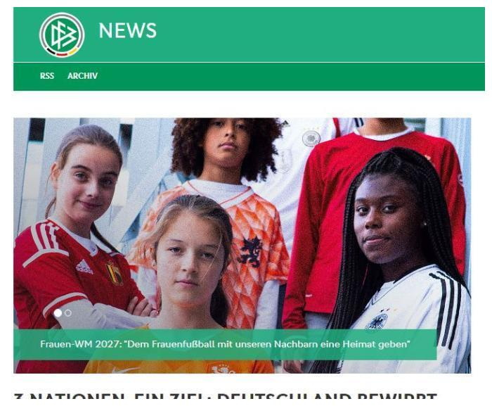 德国足协:将与荷兰比利时联合申办2027女足世界杯
