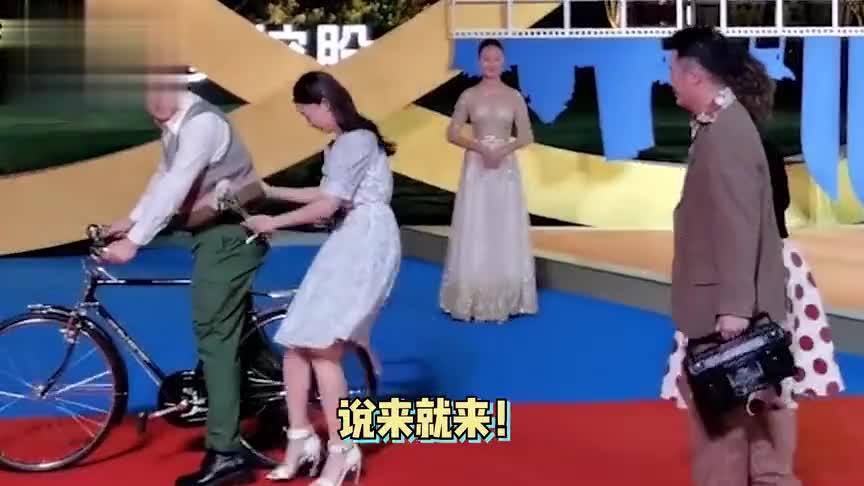 太搞笑!沈腾骑自行车带女演员走红毯,快速变装奔向贾玲好忙碌