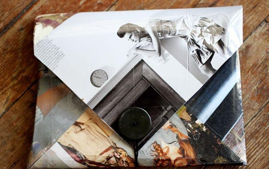 旧画报DIY手工制作一款时尚个性的人物摄影照图案纸质手拿包