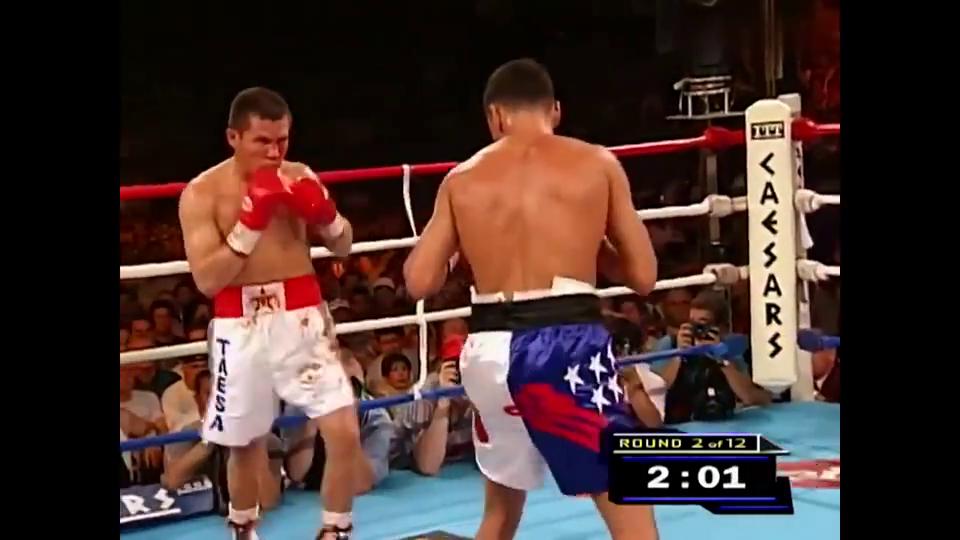 拳王德拉霍亚成名之战,四回合将老查维兹打得面目全非