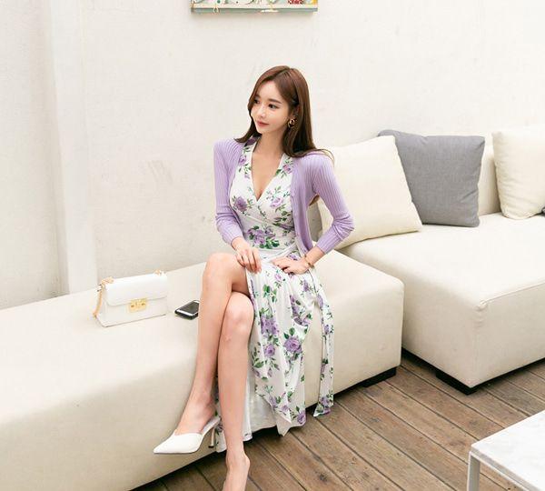 韩国网红模特孙允珠韩版春装浪漫紫针织开衫网拍