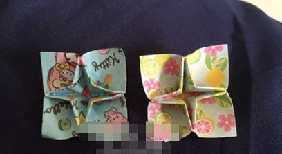 儿童简单折纸四角花的折法图解教程