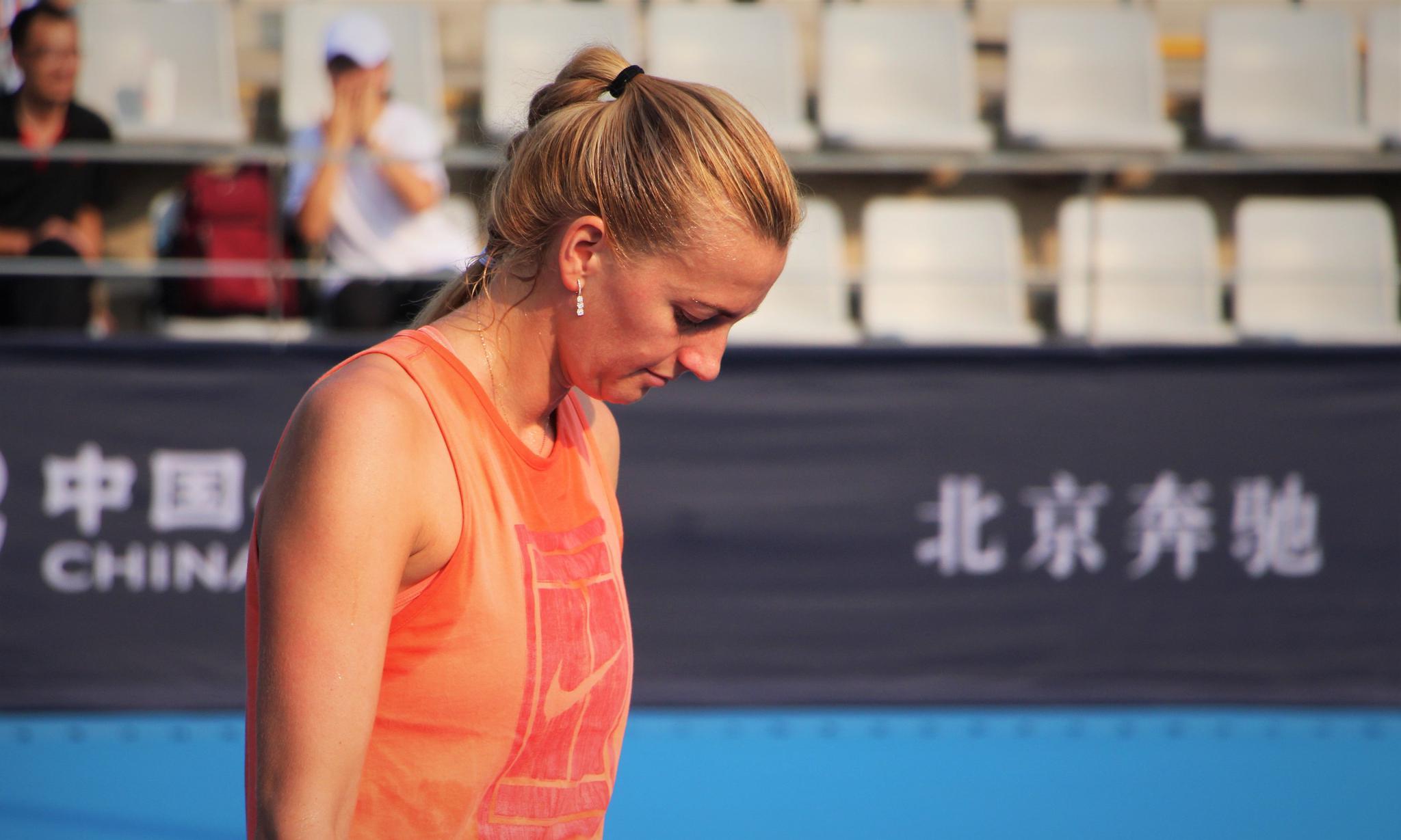 图集:直击中网球员训练,科维托娃金发碧眼令人着迷