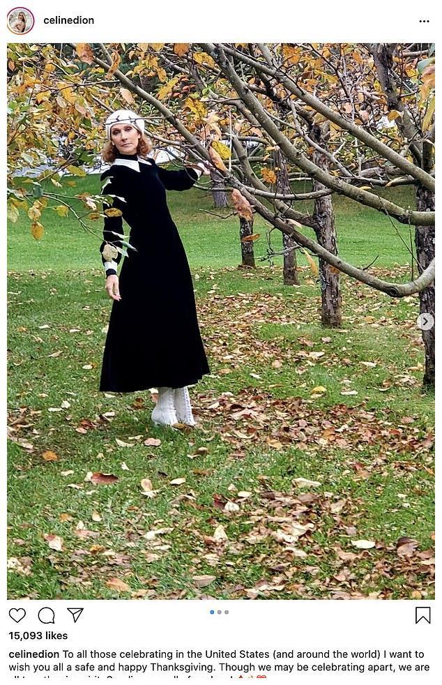 52岁席琳·迪翁感恩节送祝福,穿黑裙白鞋显腰细,似朝圣者