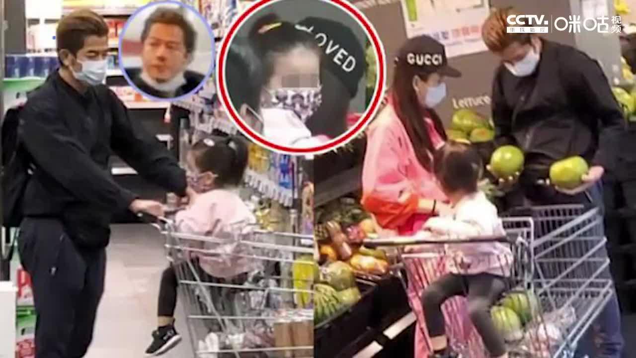 防疫到位郭富城携妻子女儿逛超市戴口罩消毒购物车超细心
