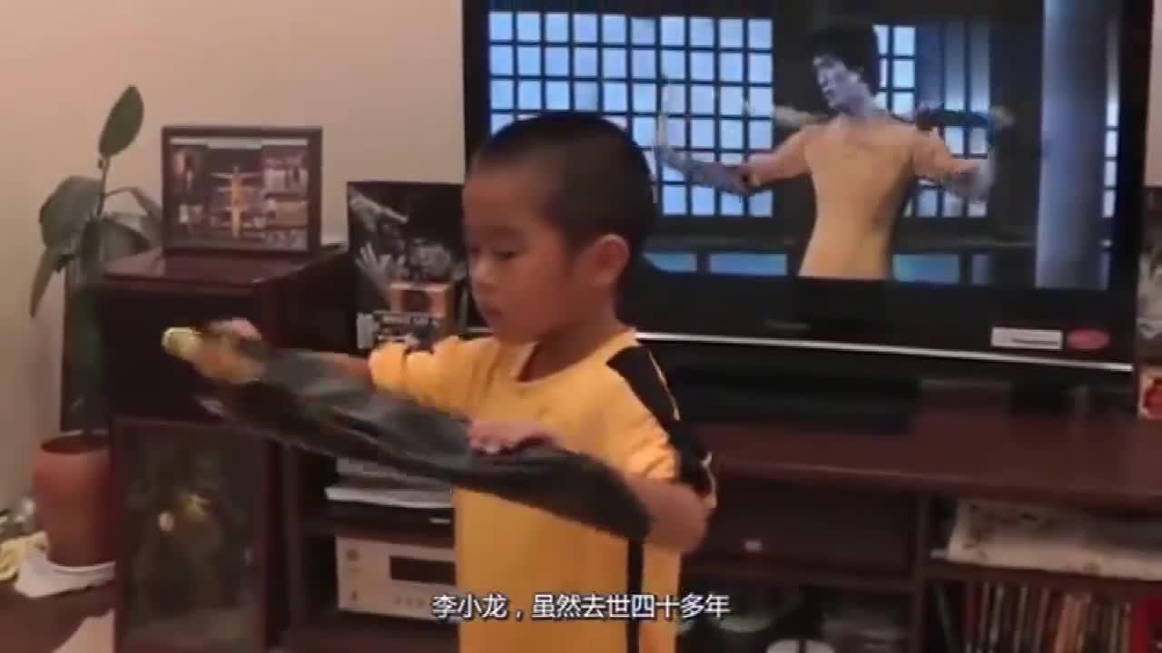 8岁小男孩模仿李小龙,爸爸记录下过程,网友:动作太像了