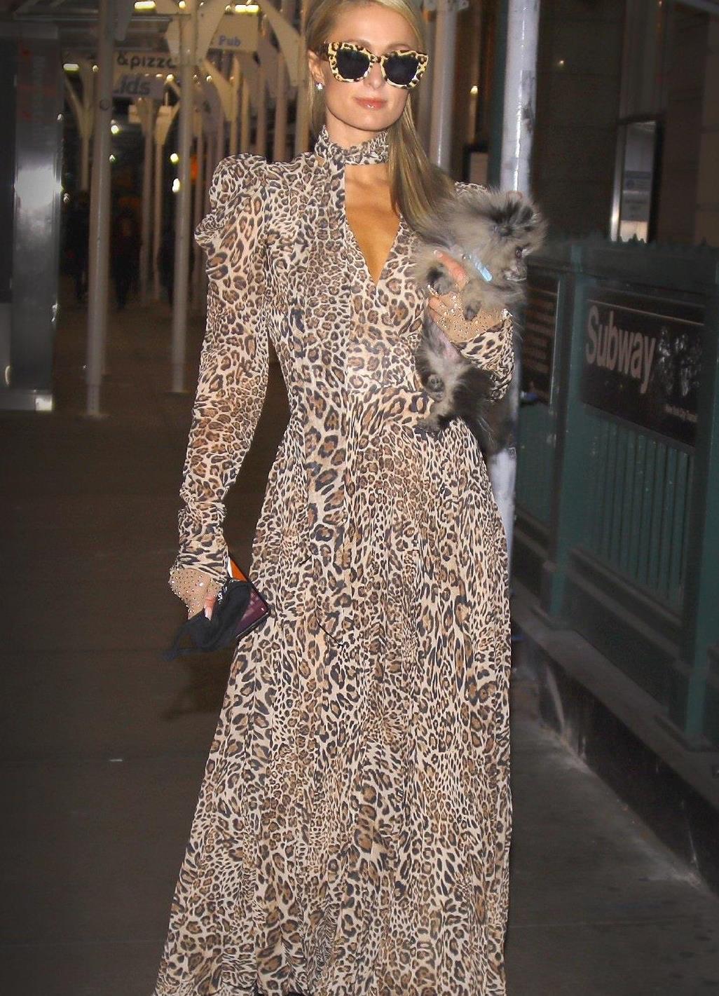 帕丽斯·希尔顿穿豹纹长裙秀细腰,抱狗狗太有名媛范,太高贵