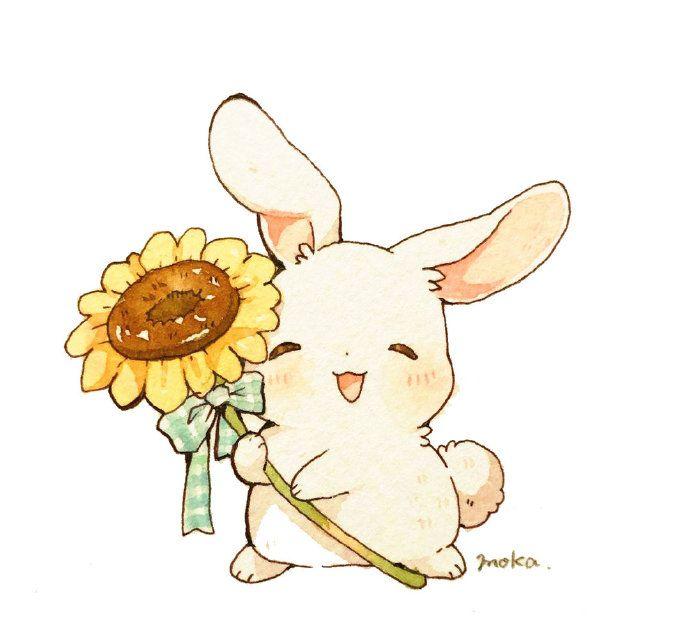 软乎乎的小白兔,一组萌物插画分享!