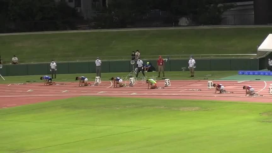 日本福井田径赛男子200米决赛,前两名几乎同时压线