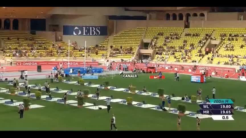 摩纳哥钻石联赛200米决赛,莱尔斯创造本年度最好成绩夺冠!