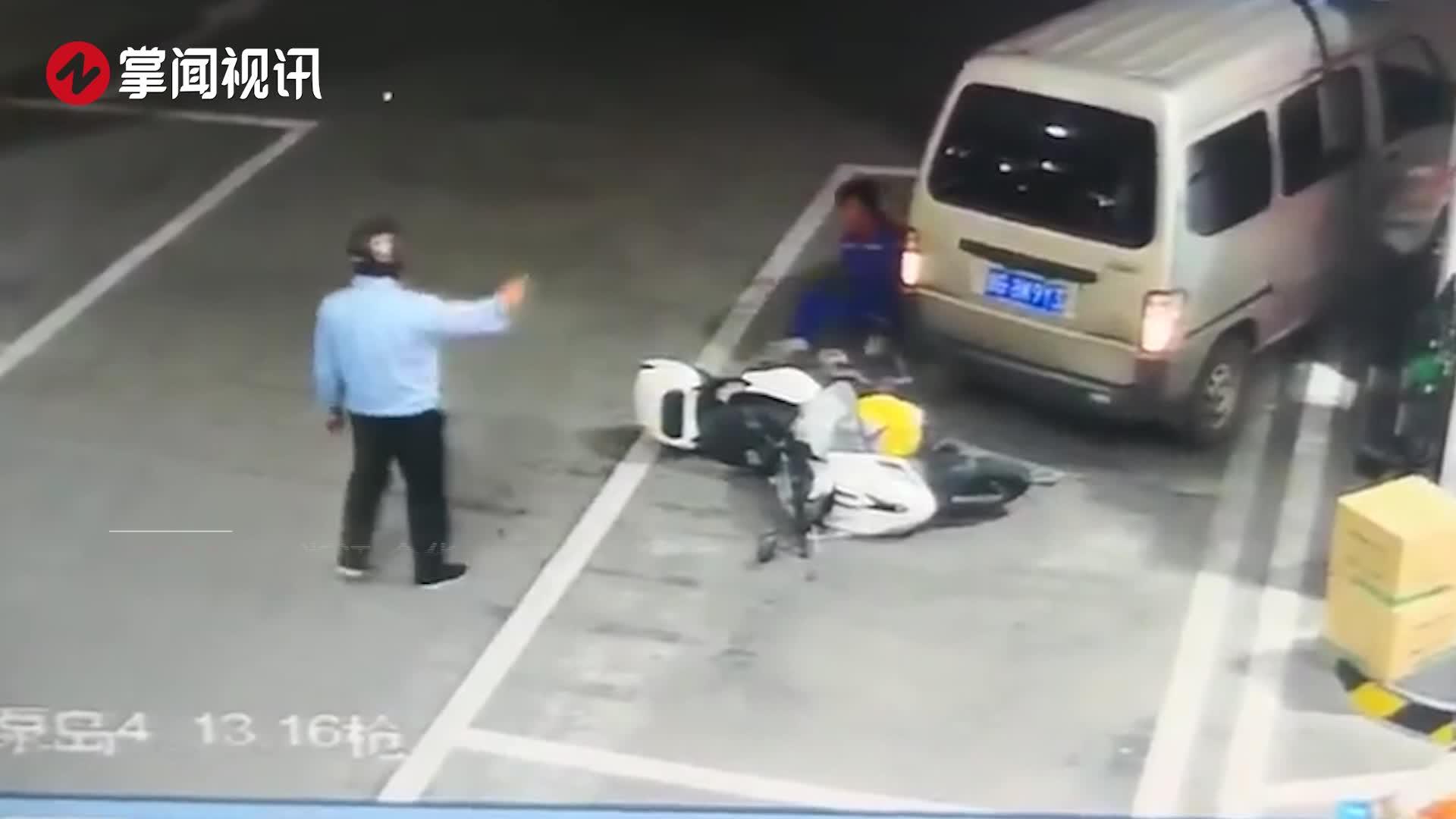 面包车冲进加油站撞倒加油员 司机:心慌找不到刹车板