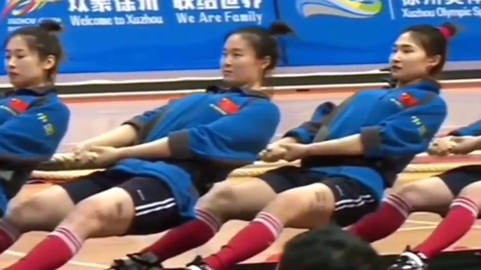 世界拔河锦标赛,中国女队稳重的操作,让对手没有反击的机会!