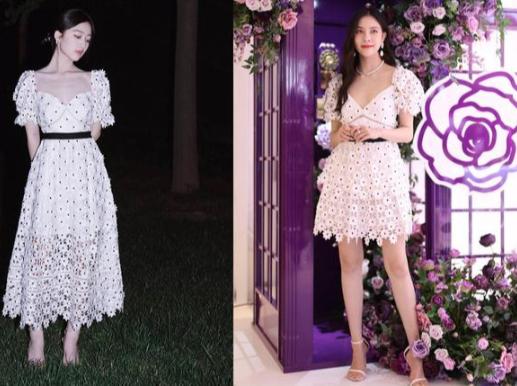 宋妍霏与小10岁邓恩熙穿同款,甜美裙装精致减龄,年龄差隐藏不见