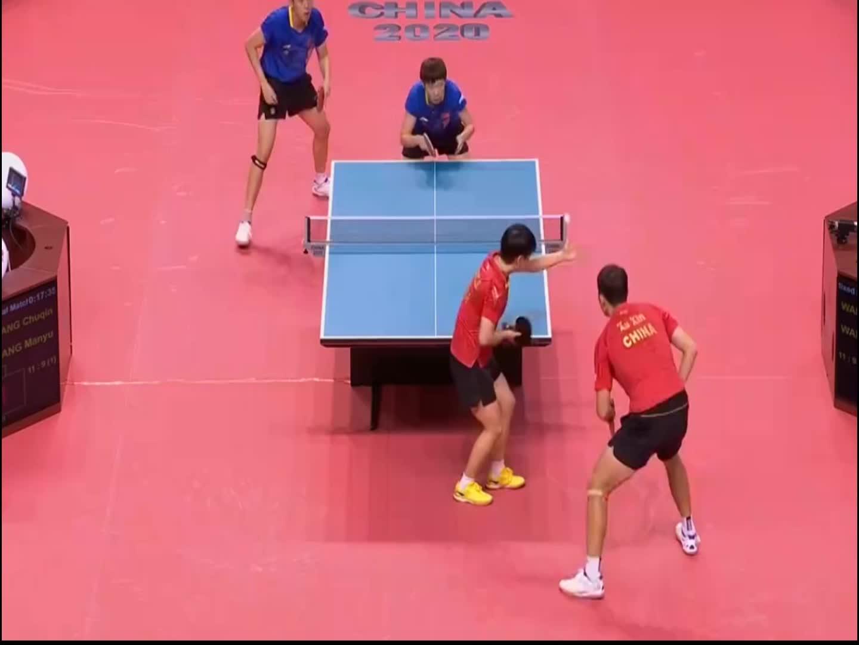 乒乓球东京模拟赛,王曼昱王楚钦真猛,比分一直领先许昕孙颖莎