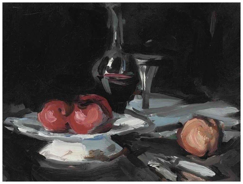 苹果静物画:壶,甜瓜,葡萄和苹果的静物画-佩普洛