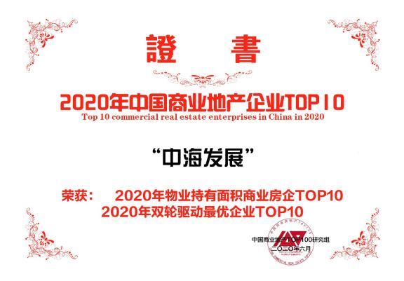 """中海发展:荣膺2020""""商业地产百强企业""""第7名等多项荣誉"""