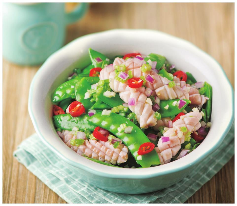 荷兰豆别只会清炒,试试这种新吃法,配上鱿鱼鲜香爽脆,百吃不腻