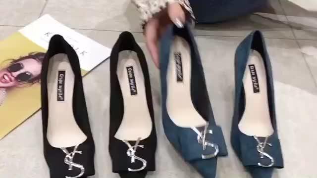 高跟单鞋,黑色软皮上班工作鞋,新款百搭浅口中跟女鞋