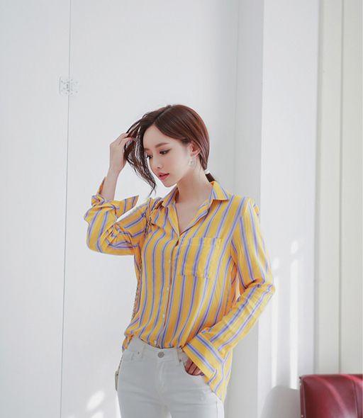 时尚写真美女:孙允珠-芒果翡翠果浆炫彩竖条纹衬衫 时尚时装