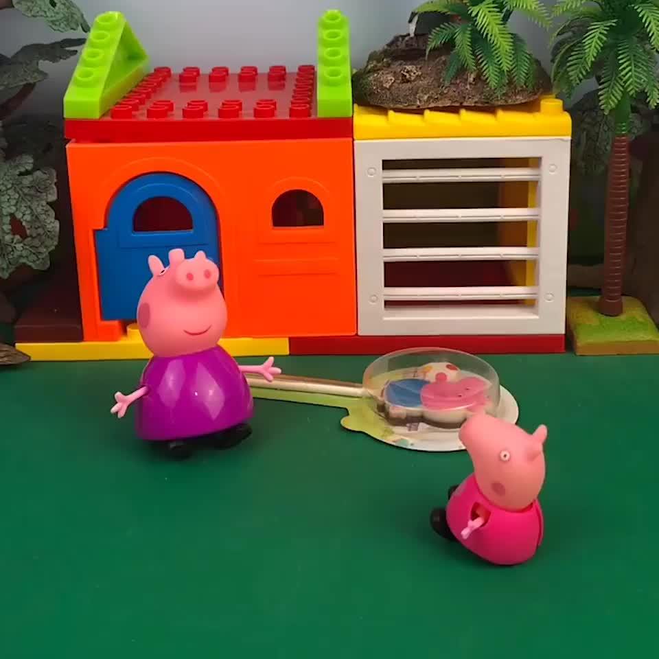 猪奶奶来小猪家了,他去看乔治了, 还给乔治买了糖吃