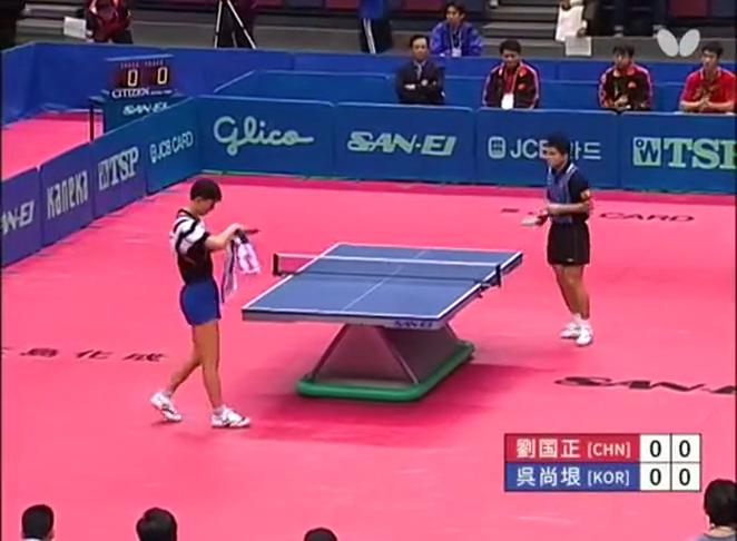 经典大战:大阪世乒赛男团半决赛中韩对决刘国正首盘拿下吴尚垠