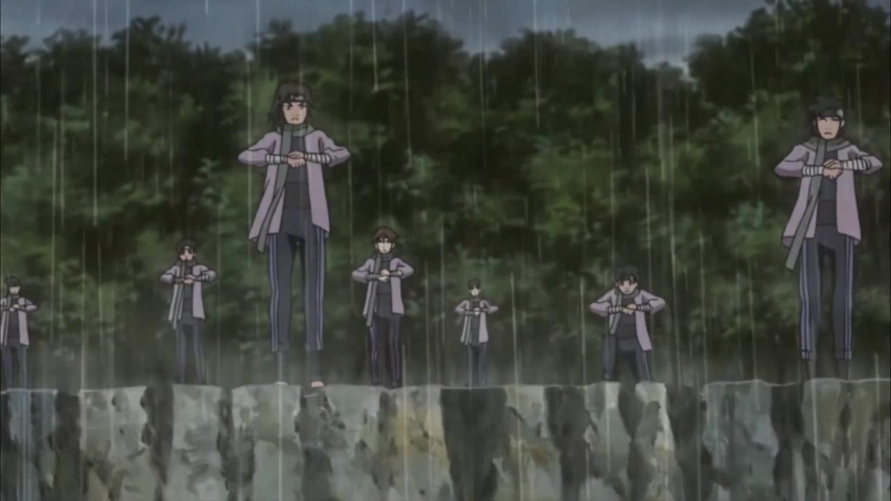 雨忍忍者下雨针对鸣人等小强,没想到让佐助撞击,挨个把他们揍了