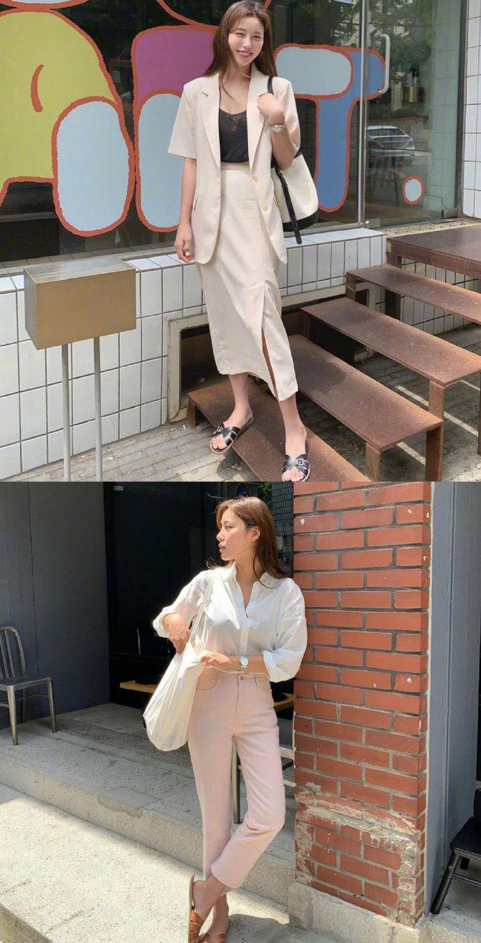 基础款式的简约气质通勤穿搭,宽松裤装和长裙搭出舒适自在感