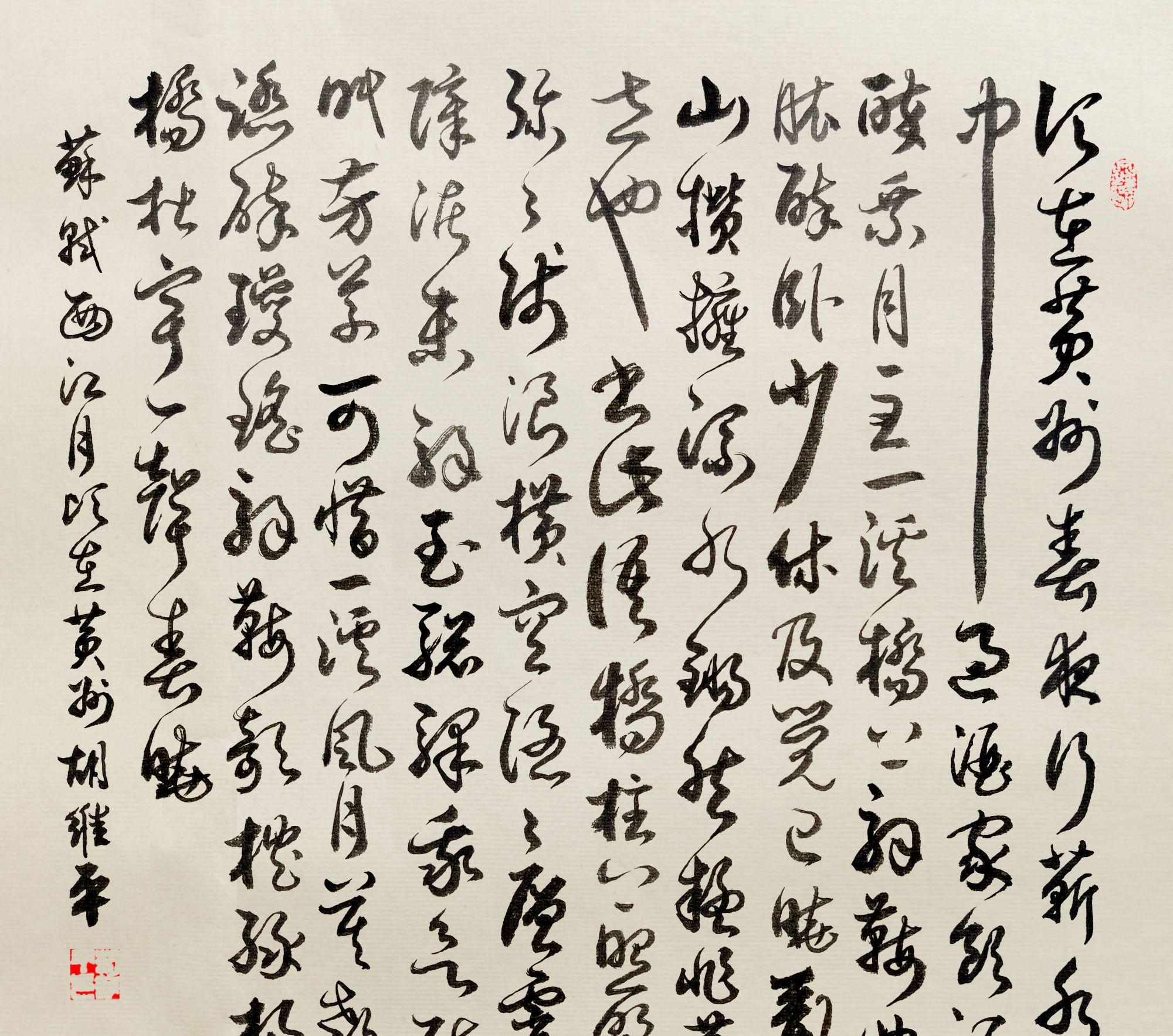 当代书法名家胡维平草书 苏轼《西江月 顷在黄州》