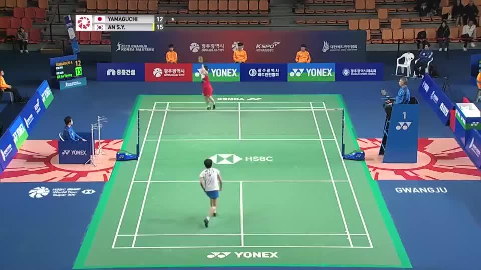 日本-山口茜 VS 韩国-安洗莹,2019韩国大师赛!