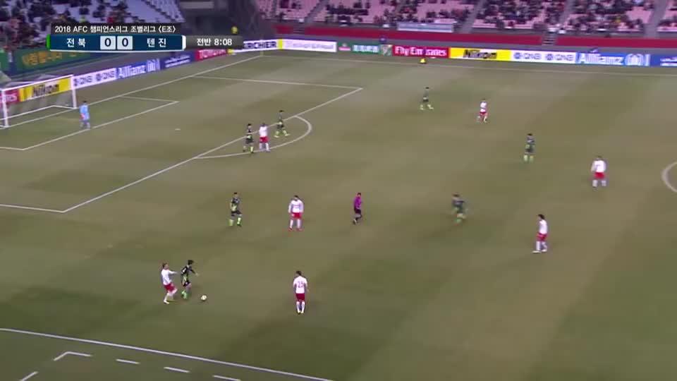 2018亚冠小组赛,全北现代主场6比3天津权健比赛集锦
