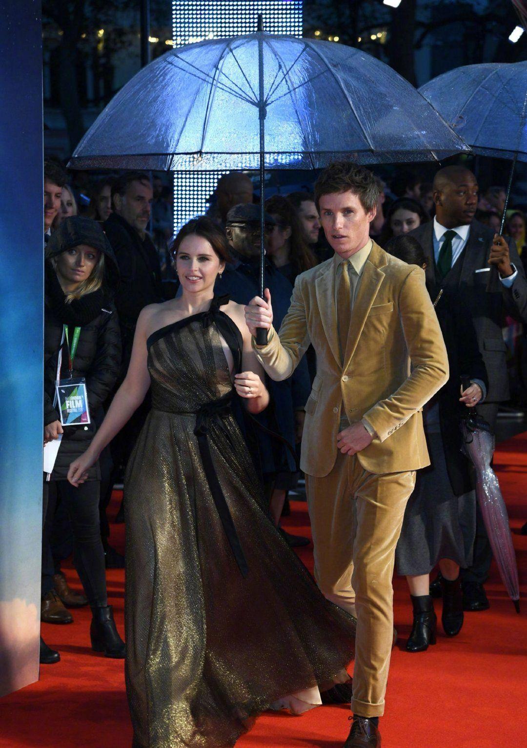"""埃迪·雷德梅恩、菲丽西缇·琼斯亮相""""伦敦电影节"""",宣传新片。"""
