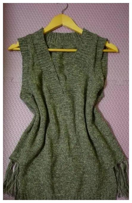 简单大方的羊绒背心,有手绘图解