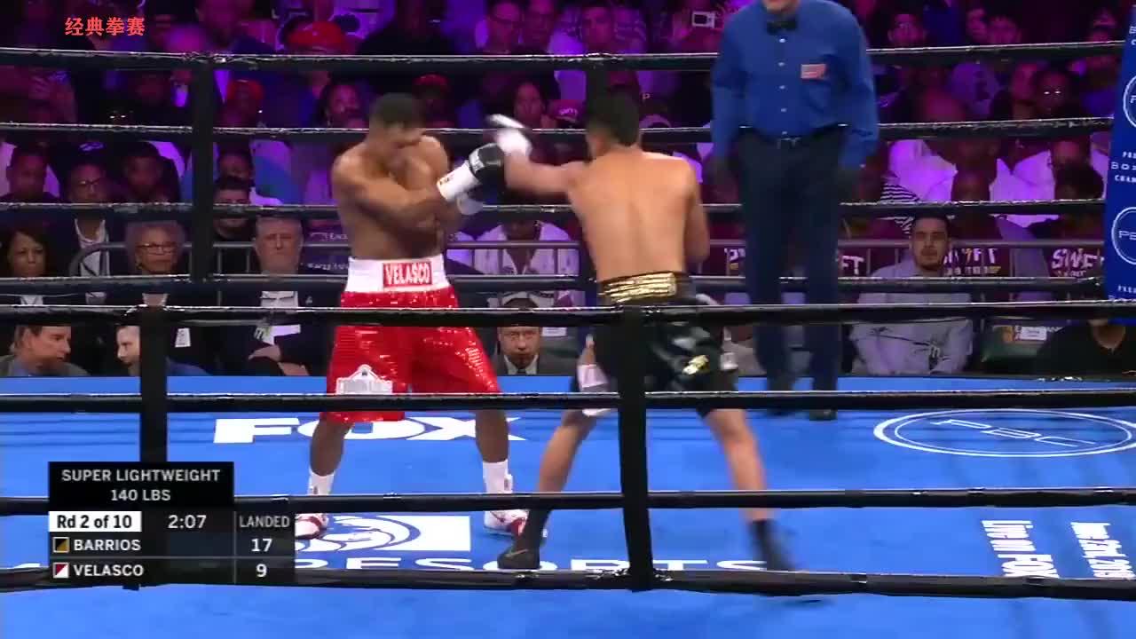 最新精彩KO赛事,新秀巴里奥斯两回合击腹KO对手强势获胜