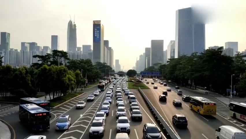 深圳车流量第一的深南大道,不愧是全国难逢对手的城市主干道!