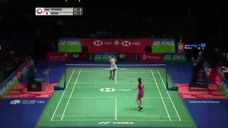 全英赛:日本美女女单大堀彩,迎战泰国一姐因达农,精彩五佳球