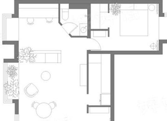63㎡黑色系的家,整个空间被绿植包围的感觉真好!