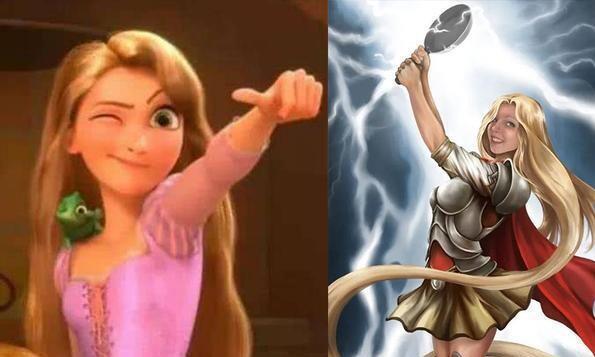 当迪士尼公主变身为超级英雄,乐佩成了雷神,艾莎化身绯红女巫