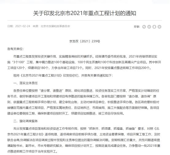 """新增学校22所,轨道交通18条,北京市公布""""3个100重点工程计划"""""""